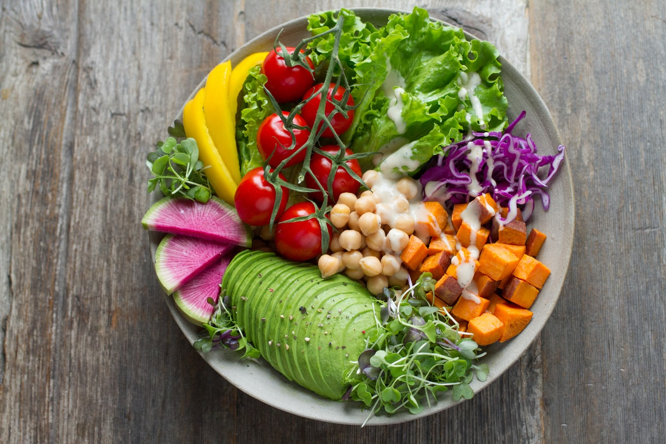 A bowl of vegetables. Eating healthy foods can help boost the immune system.