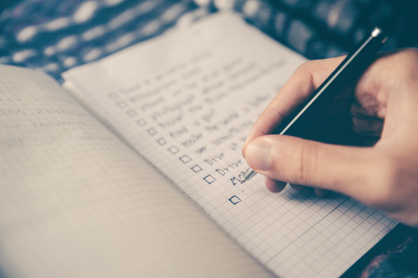 A check list used to make exercise goals. Making a list of exercise goals can help seniors stay active