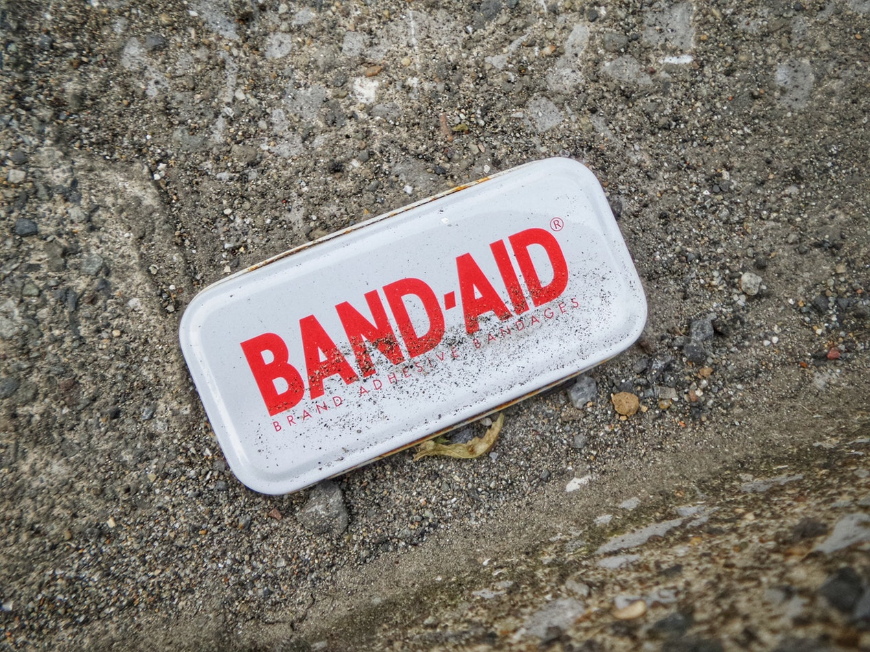 A package of bandaids on the ground. Arthritis is one of the 10 common senior health issues.