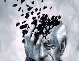 Painting of a man suffering from Alzheimer's Disease