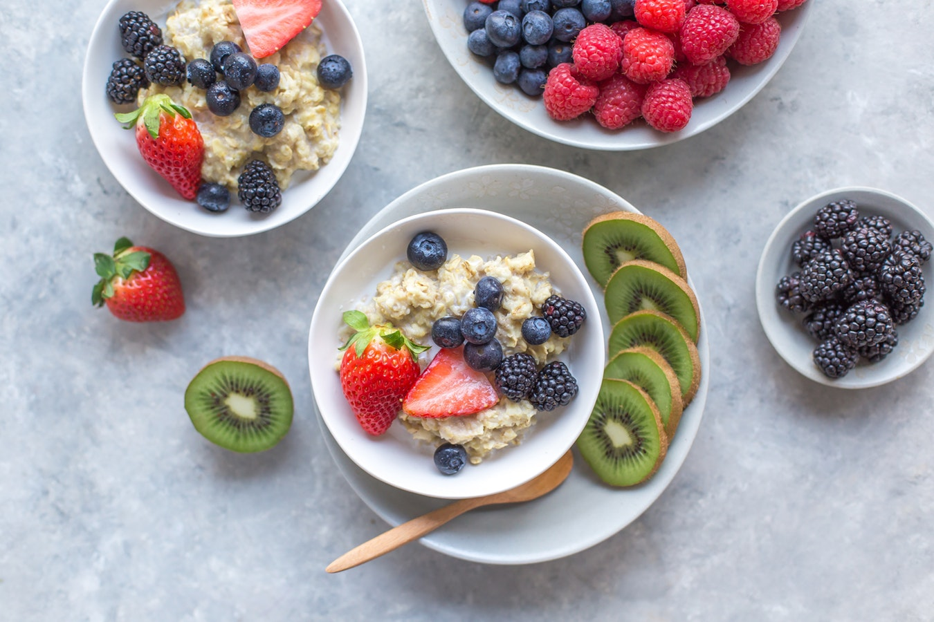 Bowls of fruit along side bowls of freshly made oatmeal are instrumental for ones cognitive health.
