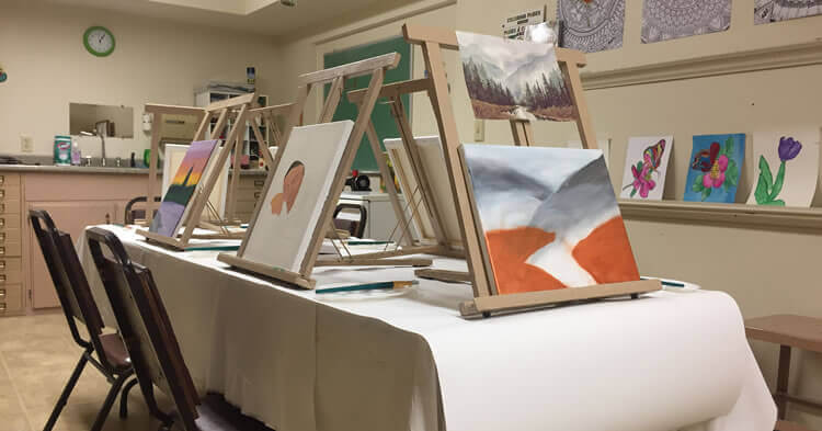 Pictures painted by residents of Landmark at Fall River in Fall River, Massachusetts