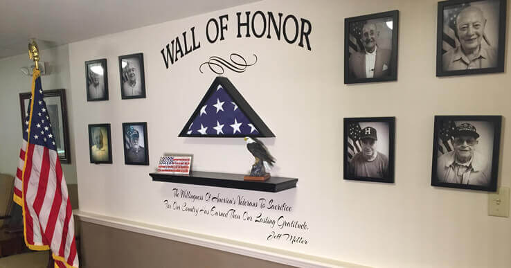 The wall of honor at Landmark at Fall River in Fall River, Massachusetts