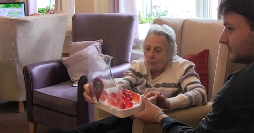"Lewis Hornby's grandmother trying the ""Jelly Drops"" he invented in order to help Alzheimer's patients stay hydrated."