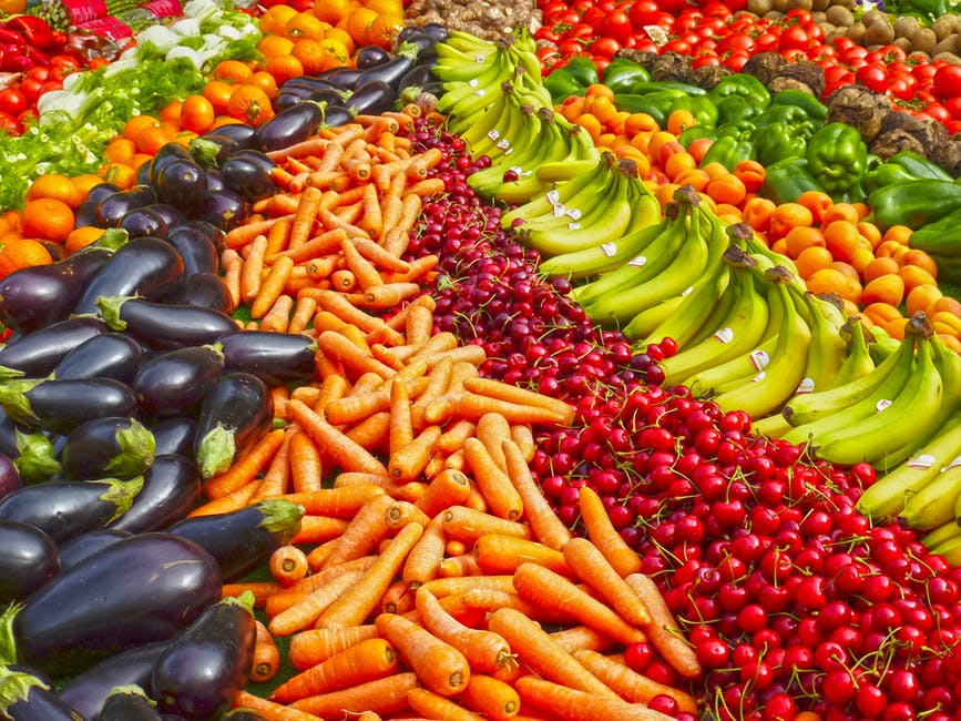 Colorful arrangement of fruits and vegetables. Healthy eating is vital for good health for seniors.