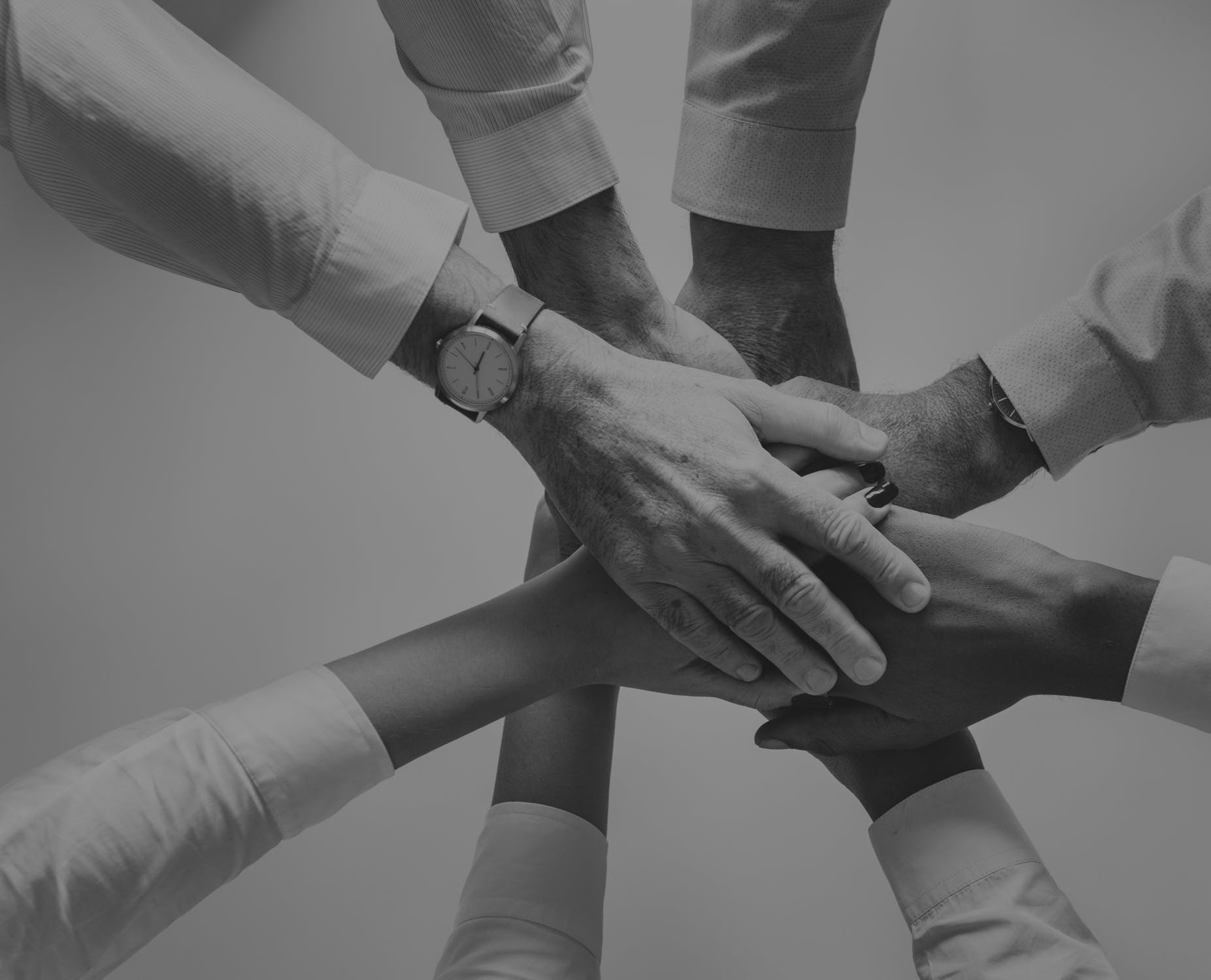 A group of individuals coming together to hold hands.