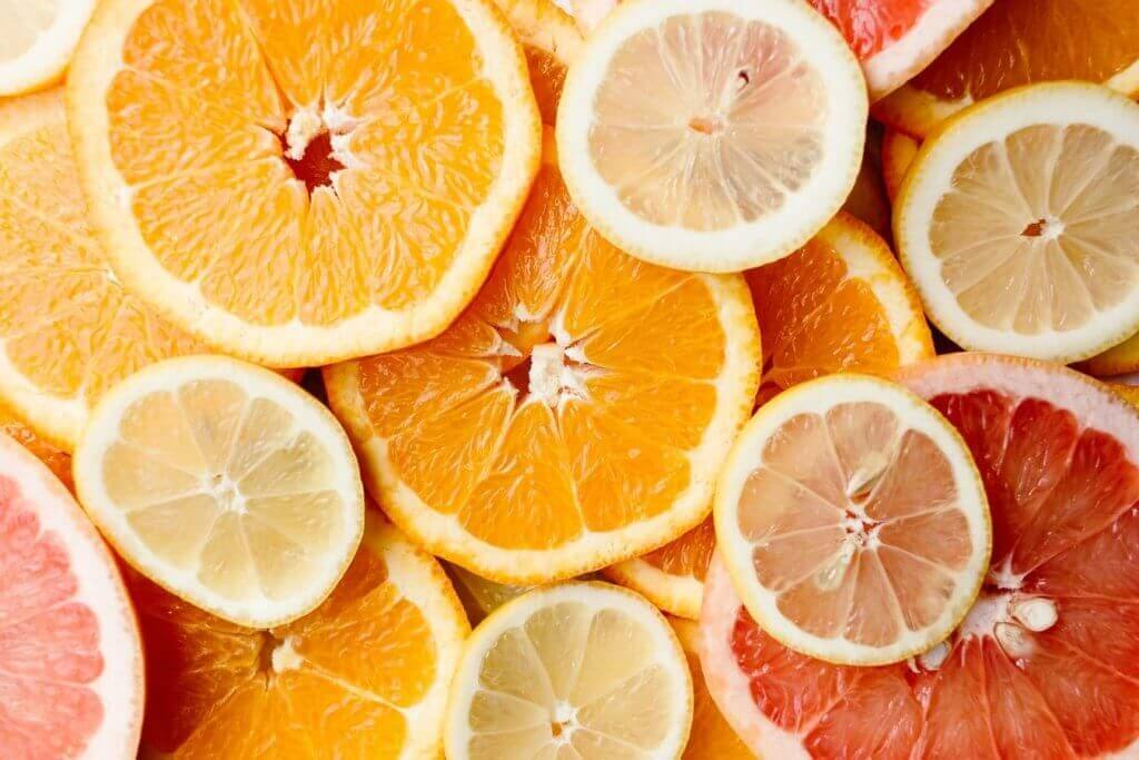 Different slices of citrus fruit. The benefits of vitamins are high in citrus fruit.