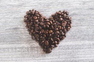 Coffee beans in the shape of a heart. There are many heart-healthy options seniors can eat