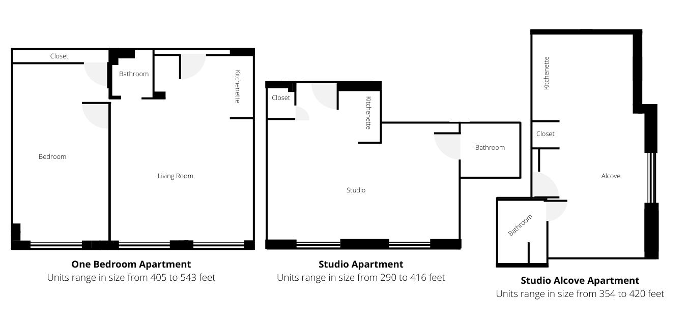Floor plans for Landmark at Longwood, a senior living facility in Boston, MA