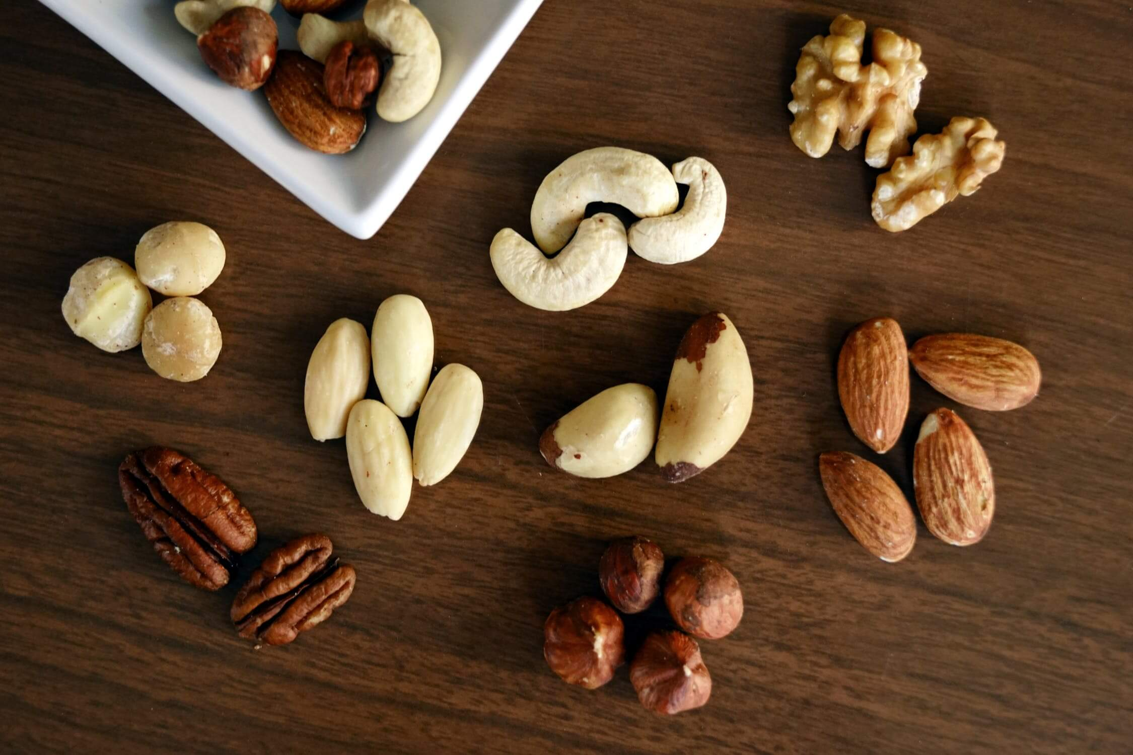 Various nuts. Nuts are wonderful heart healthy options for older adults.