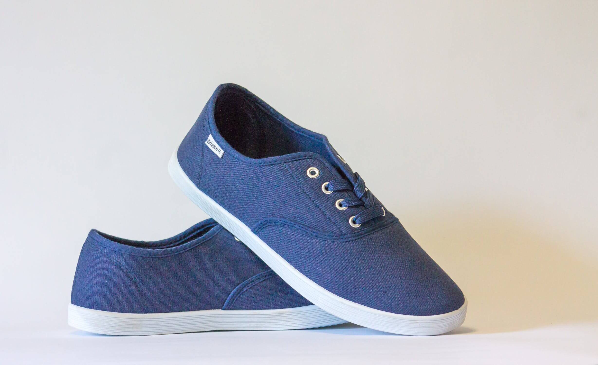 A pair of blue walking shoes. Having quality shoes can help with fall prevention