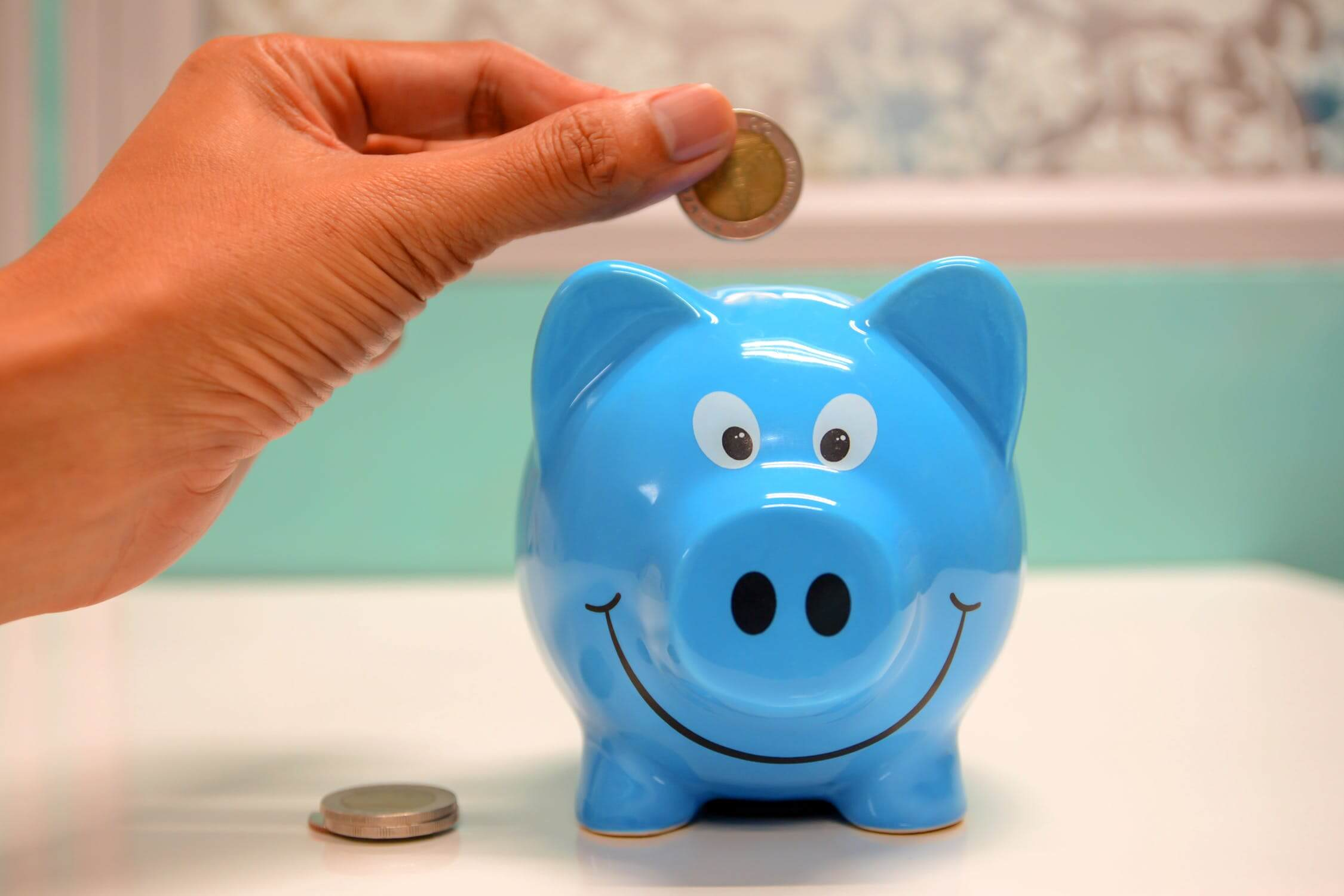 A blue piggy bank where individuals can save money