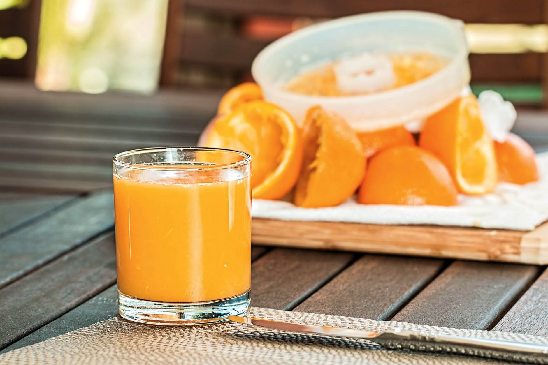 A glass of freshly squeezed orange juice. Citrus fruits are great for the fight against COVID19