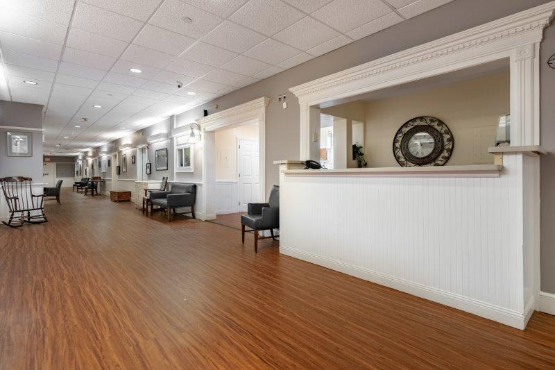 The lobby at Landmark at Ocean View, a memory care facility in Beverly, MA