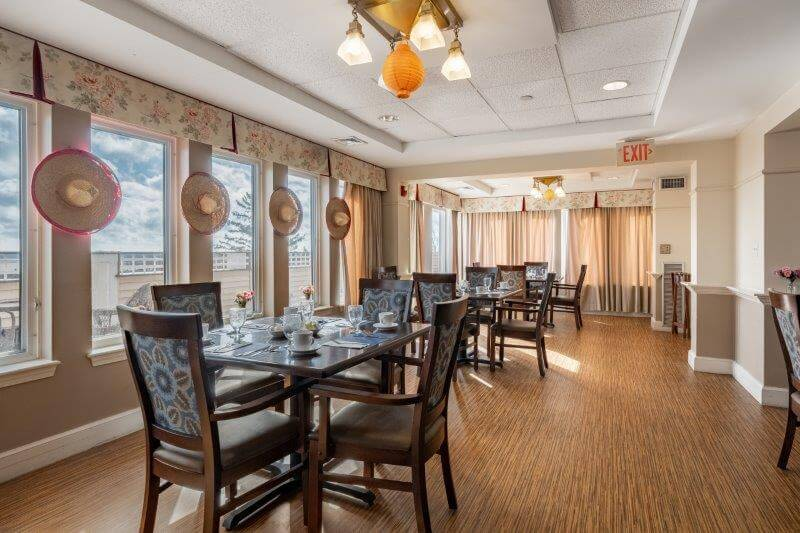 One portion of the dining room at Landmark at Ocean View, a senior living facility in Beverly, MA