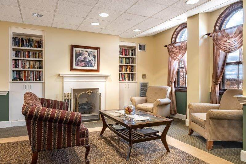 A sitting area for residents at Landmark at Monastery Heights, an assisted living facility in Massachusetts