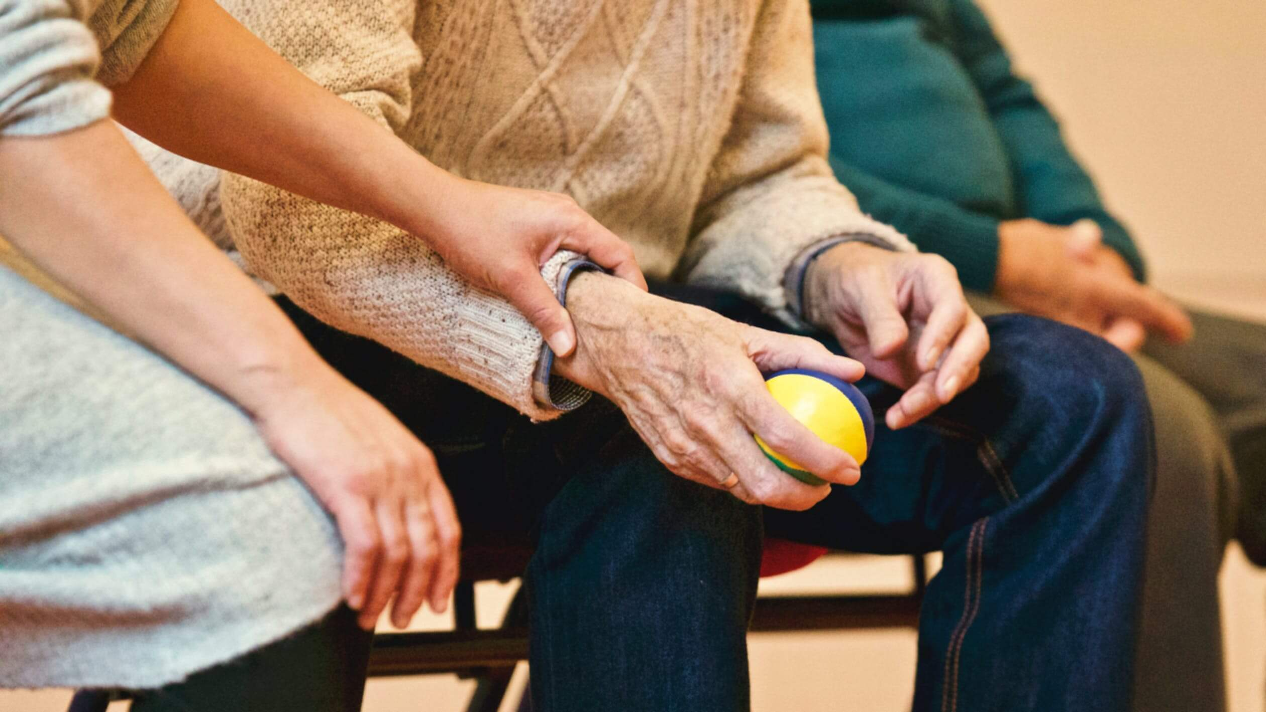 A man with arthritis working on his hand eye coordination