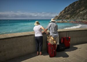 An older couple enjoying their traveling now that they have entered retirement
